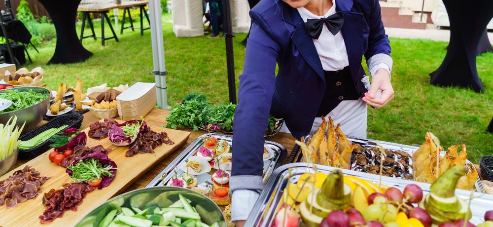 Catering Server Preparing Food
